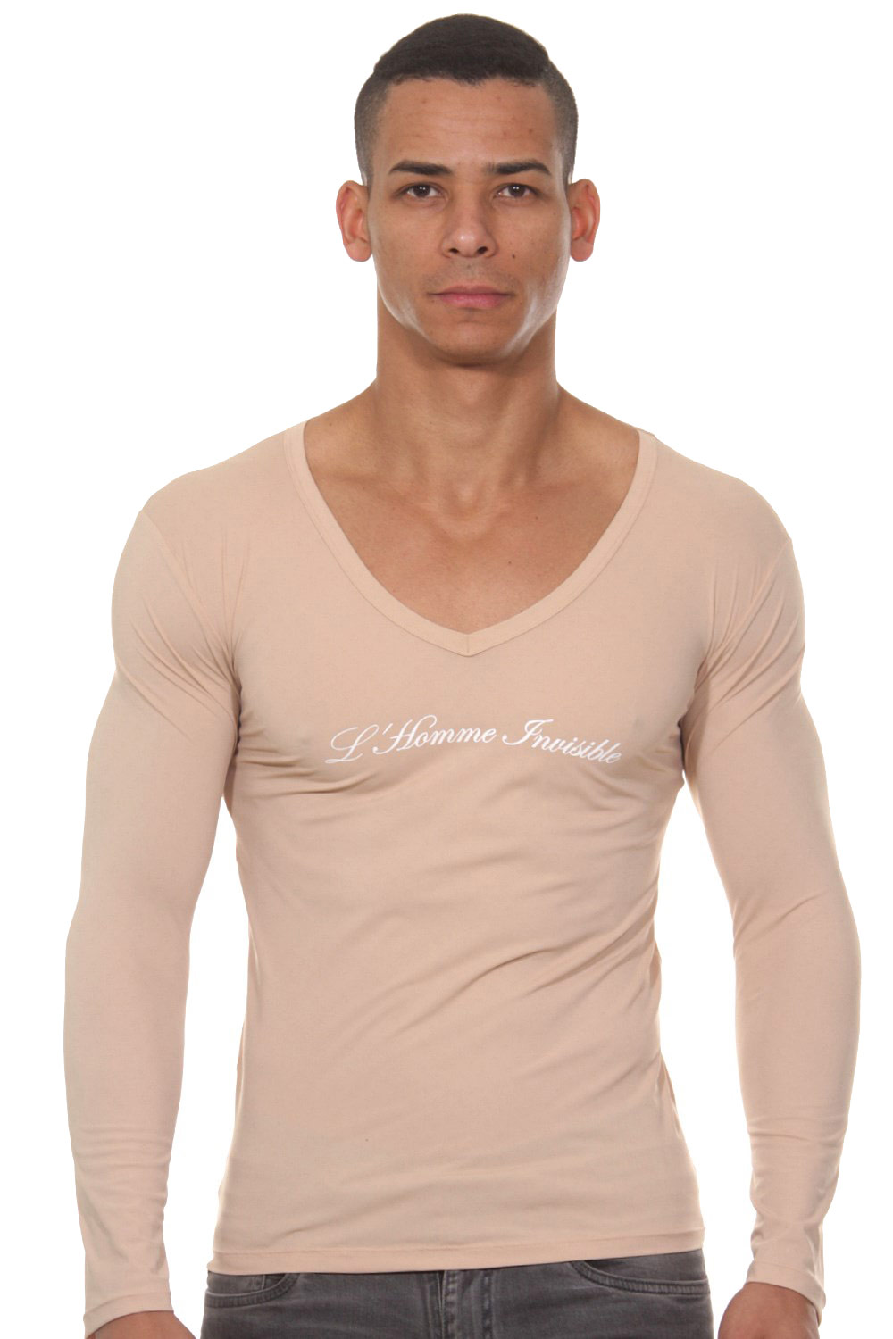 L'HOMME INVISIBLE Sensitive T-shirt Col V ML auf oboy.de