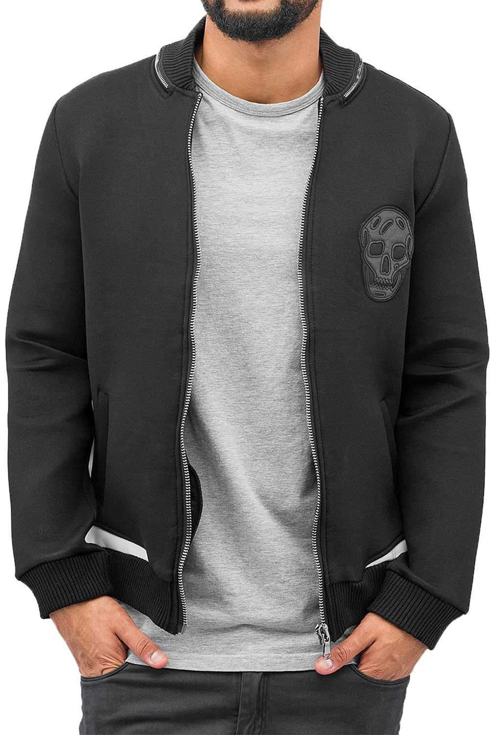 BANGASTIC Skull Zip Sweat Jacket Black auf oboy.de