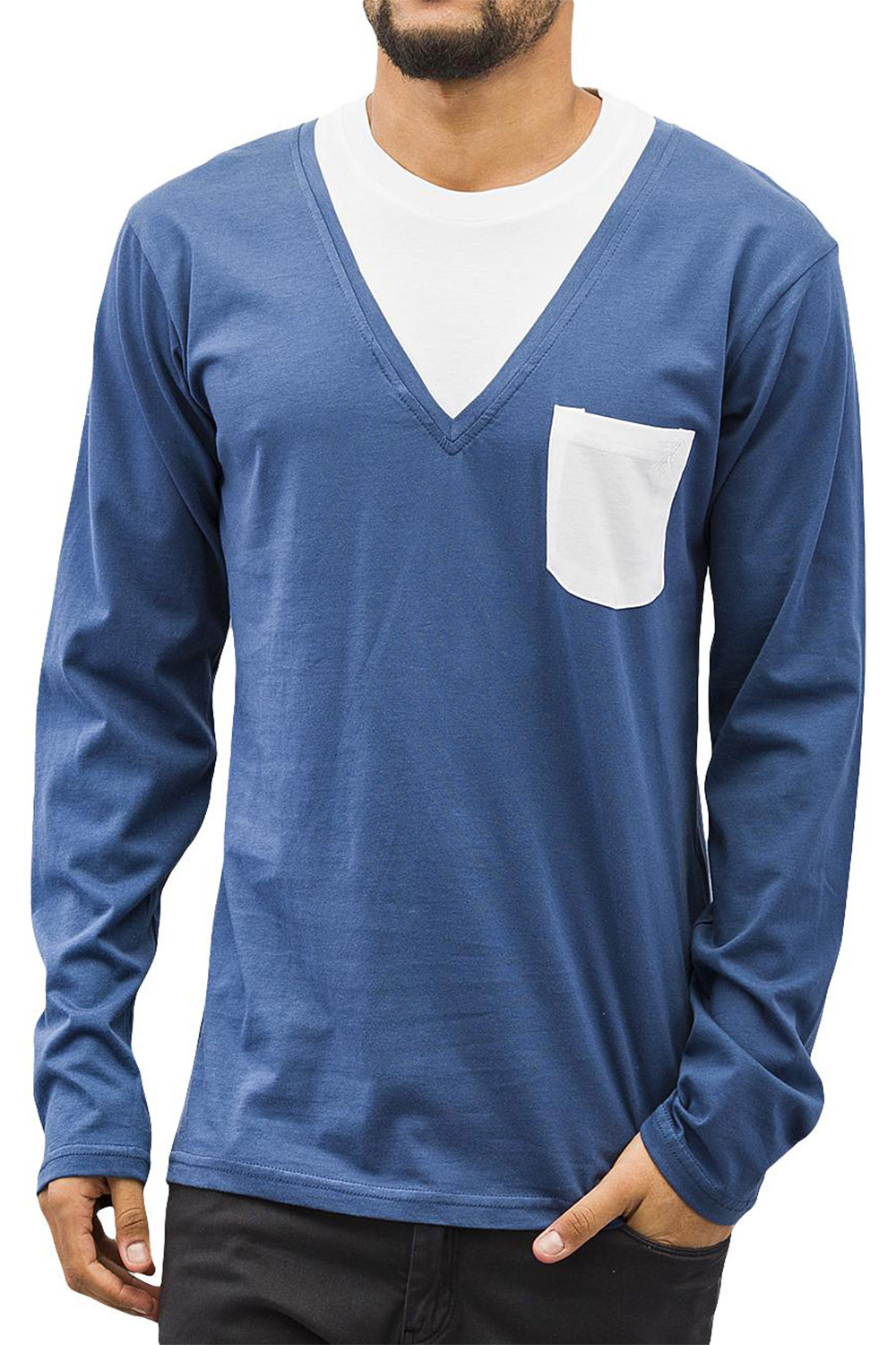 CAZZY CLANG Breast Pocket Longsleeve Blue/White auf oboy.de