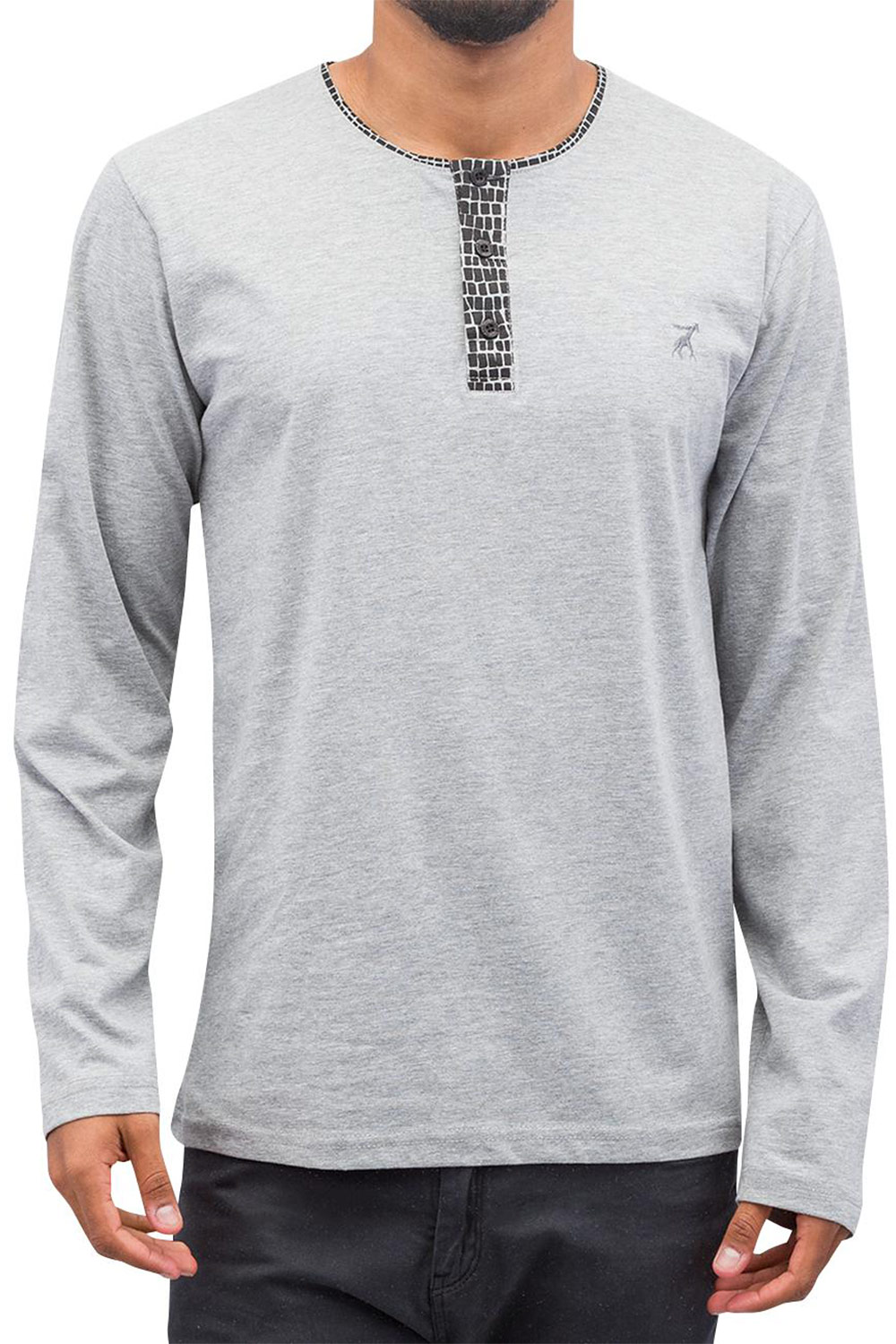 CAZZY CLANG Button Tape Longsleeve Grey auf oboy.de