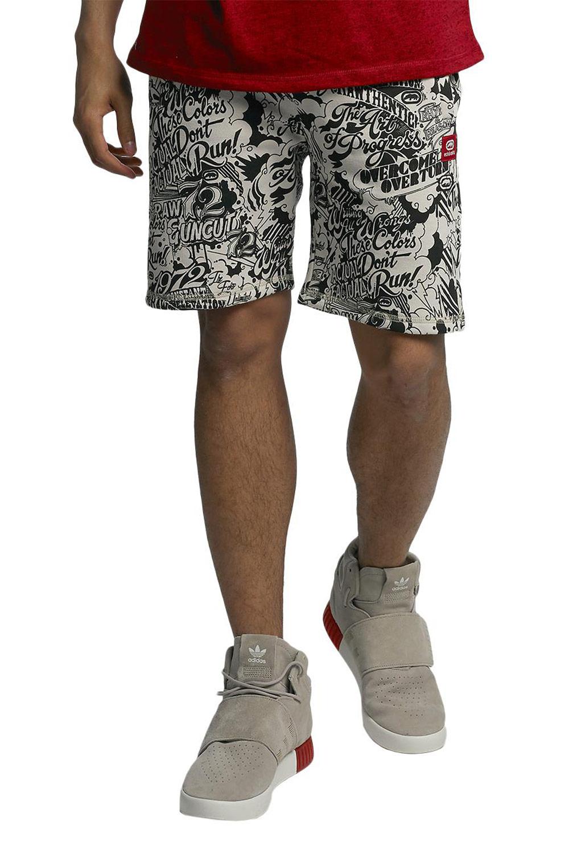 Artikel klicken und genauer betrachten! - schwarz - modische Shorts von Ecko Unltd. - Kordelzug außen am Saum - seitliche EInschubtaschen - eingelassene Gesäßtasche - Logo-Patch am linken Hosenbein - cooler Allover-Print auf der ganzen Shorts - weit geschnitten Material: 80% Baumwolle, 20% Polyester ECKOUNLTD001 | im Online Shop kaufen