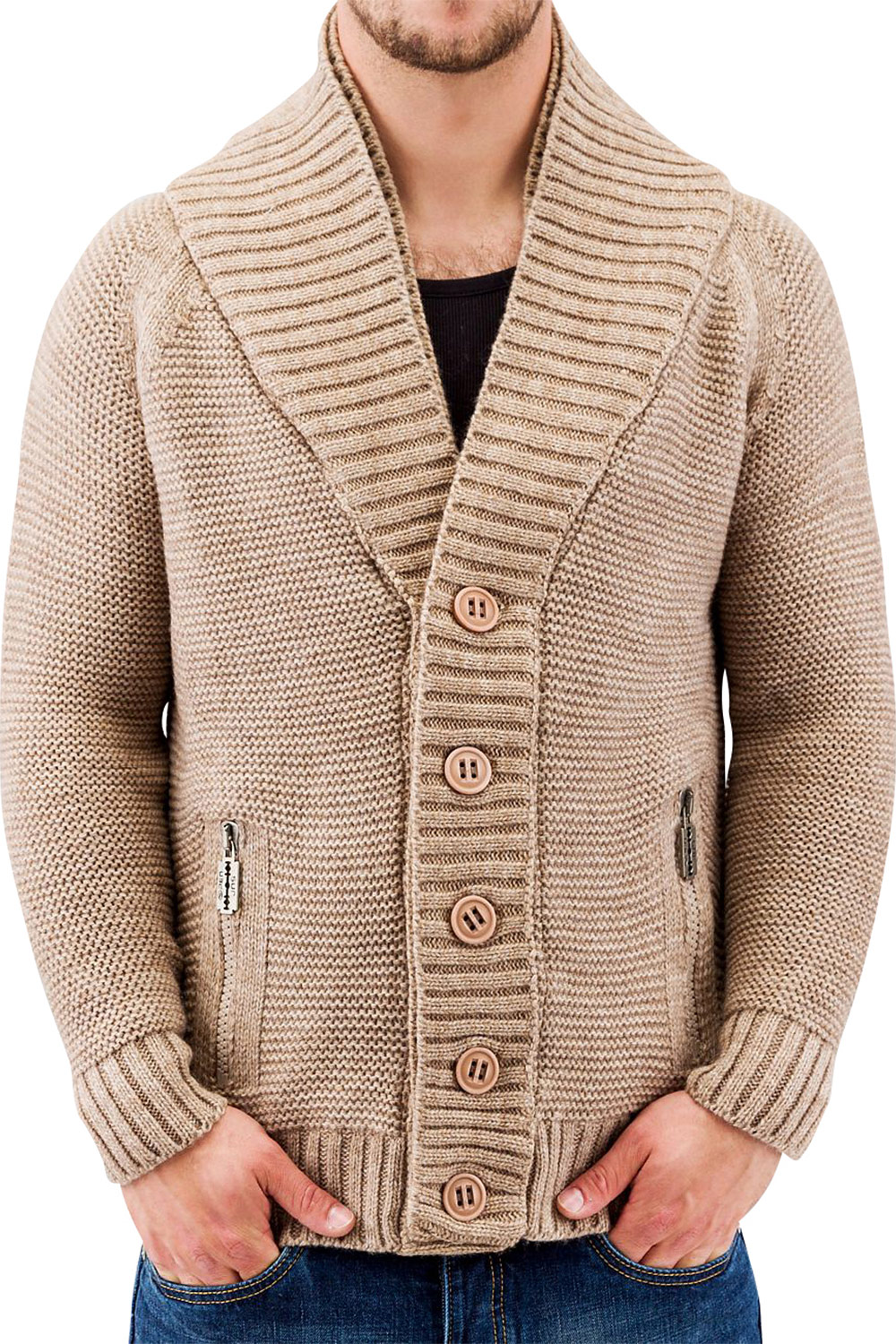 JUST RHYSE And Friends Double Collar Cardigan Stone auf oboy.de