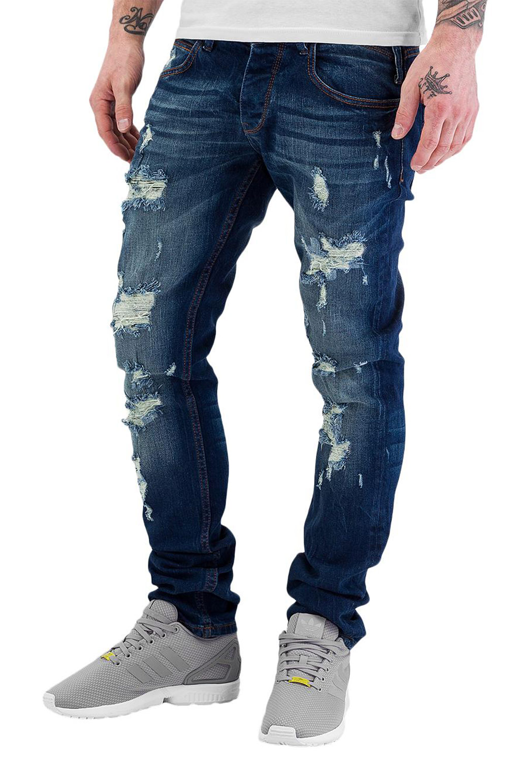 JUST RHYSE Destroyed Straight Fit Jeans Blue auf oboy.de