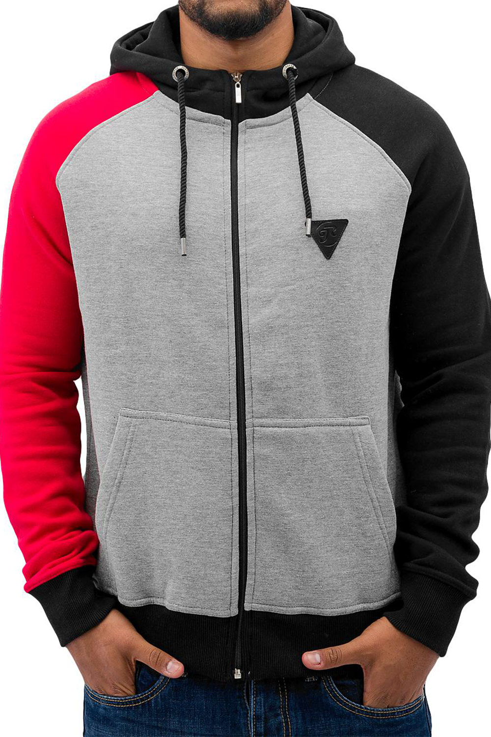 JUST RHYSE 3 Tone Zip Hoody Grey Melange/Black/Re auf oboy.de