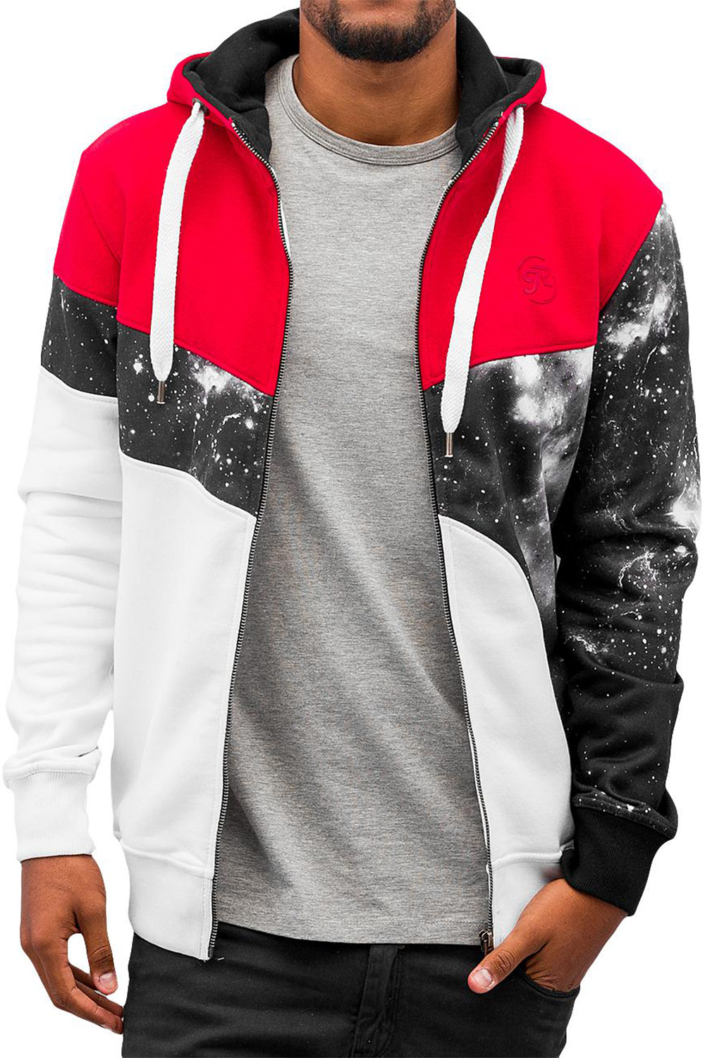 JUST RHYSE Stars Zip Hoody Black/Red/White auf oboy.de