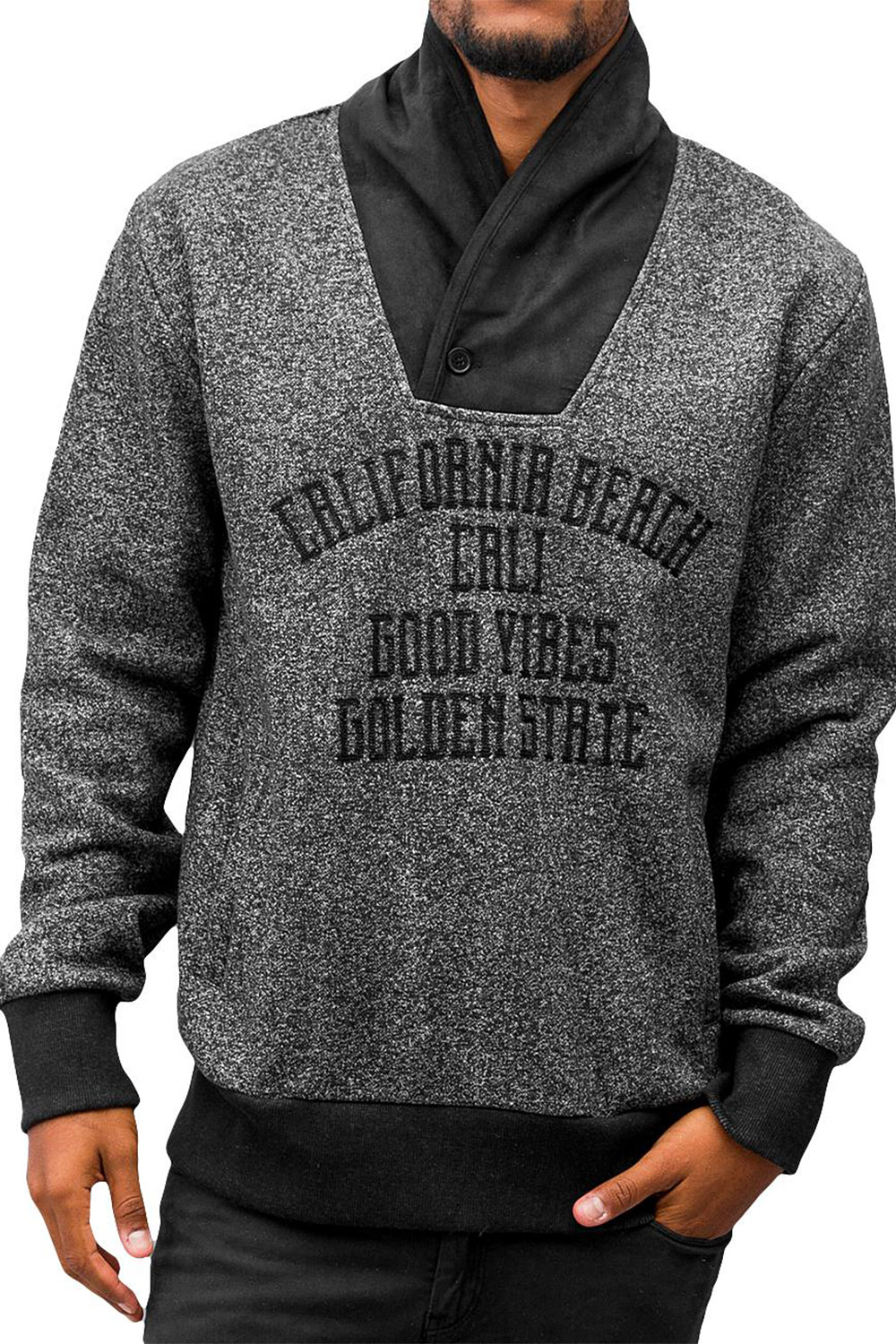 JUST RHYSE California Beach Sweatshirt Black Melange auf oboy.de