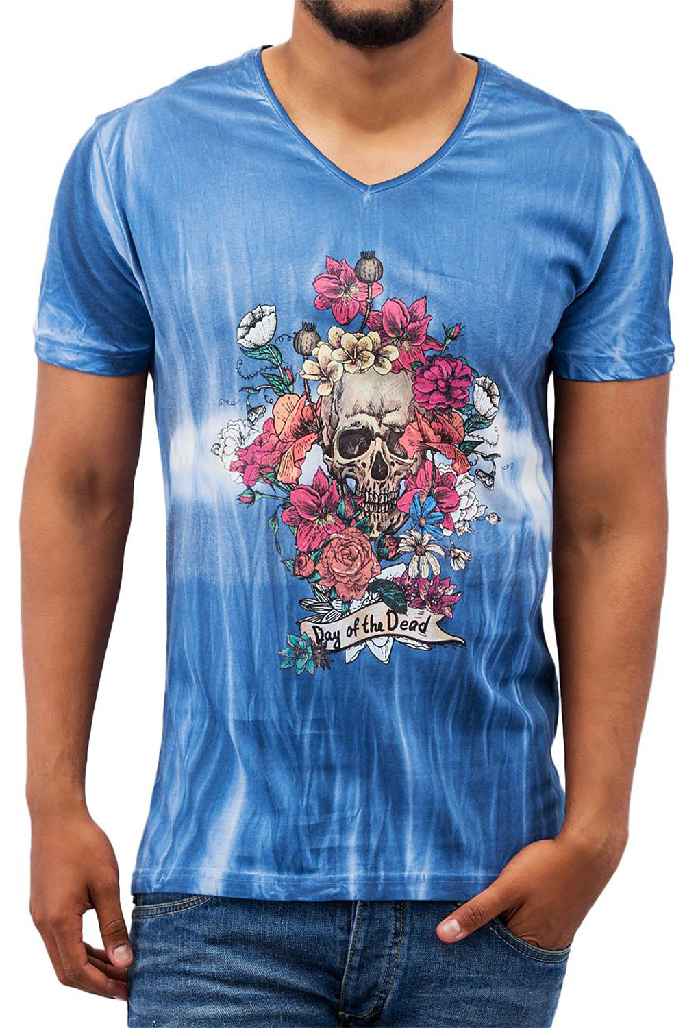JUST RHYSE Day Of The Dead T-Shirt Blue auf oboy.de