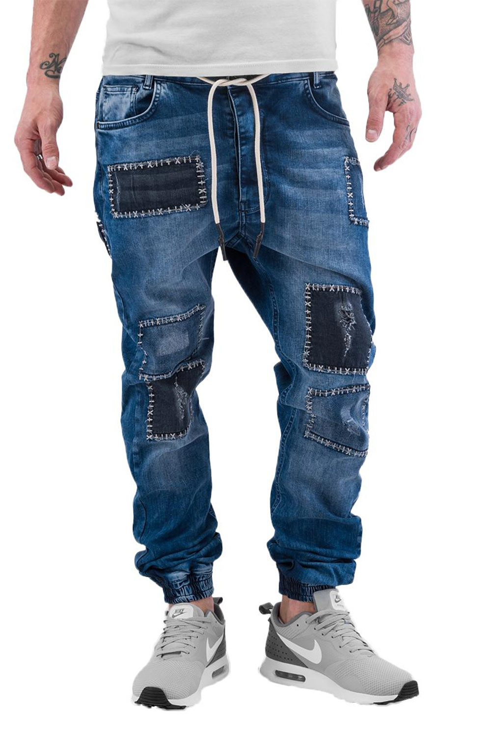 JUST RHYSE Patches Straight Fit Jeans Blue auf oboy.de
