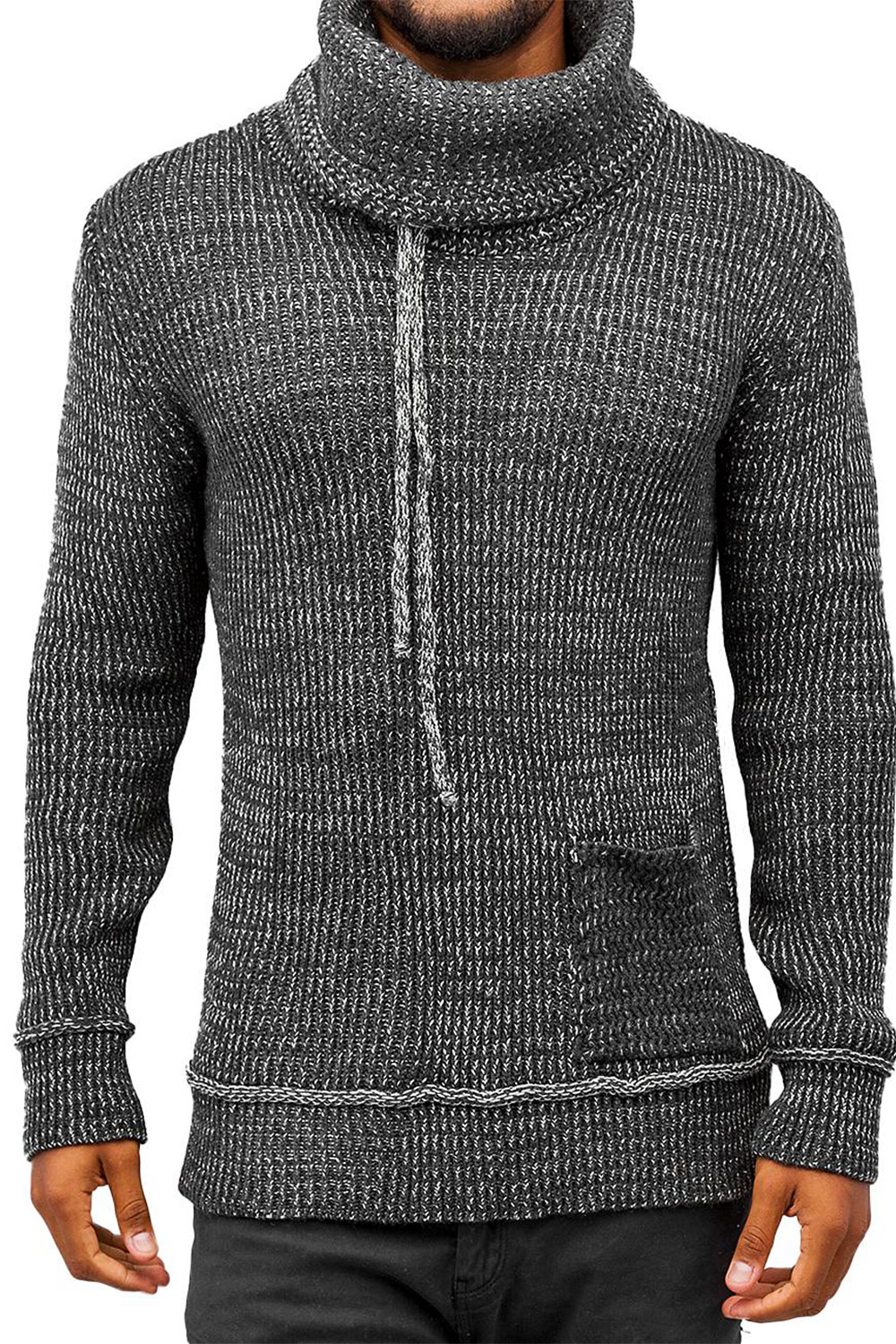 JUST RHYSE Knit Sweater Anthracite Bone auf oboy.de