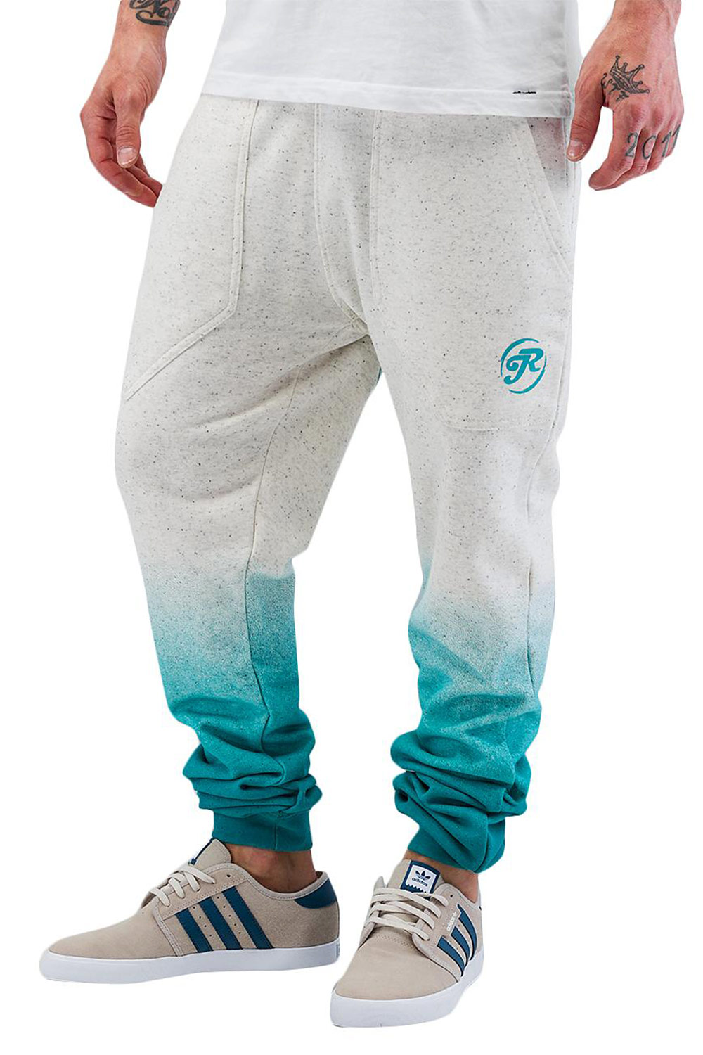 JUST RHYSE Speckle Sweatpants White/Turquoise auf oboy.de