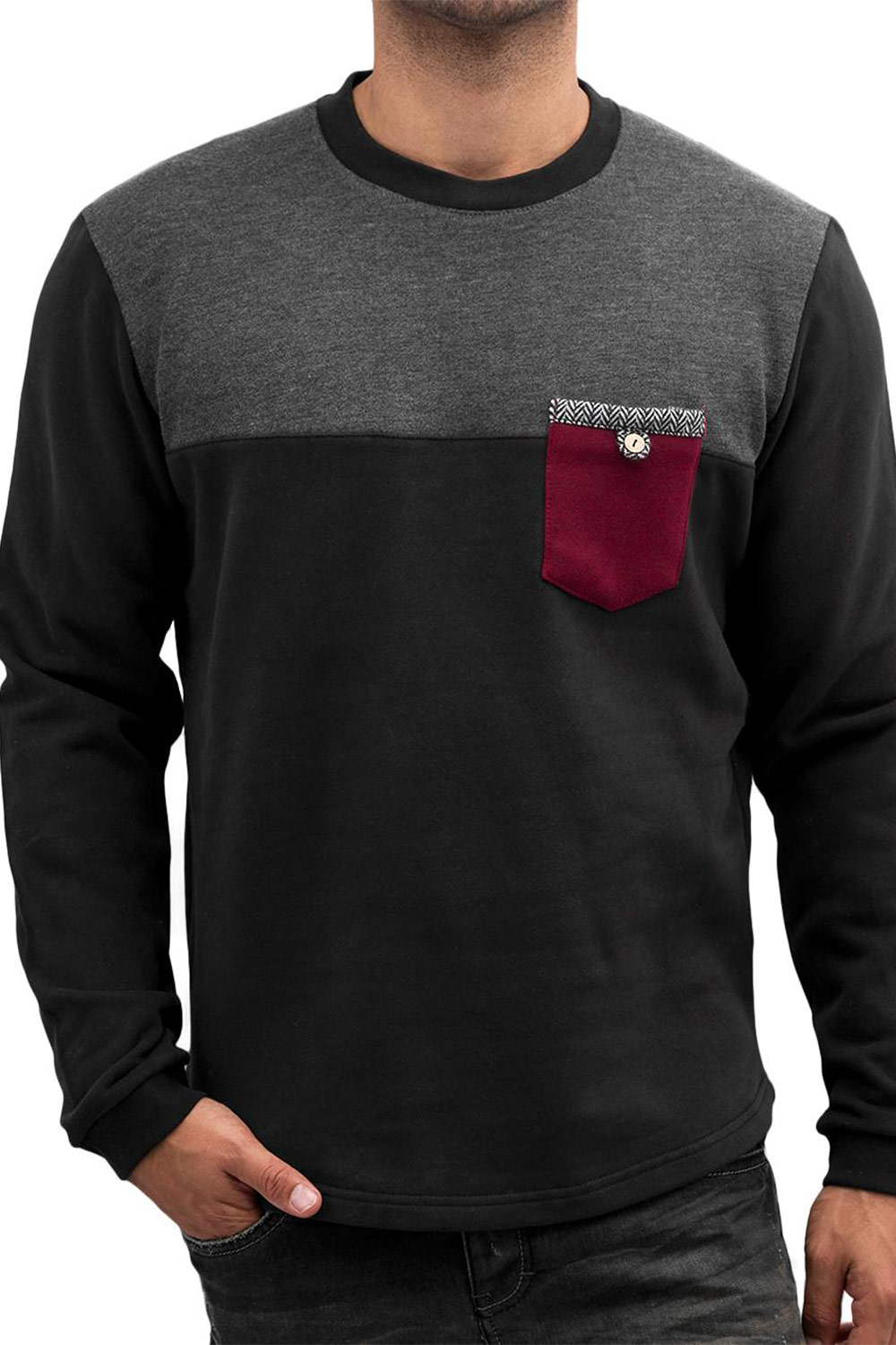 JUST RHYSE Breast Pocket Sweatshirt Black auf oboy.de