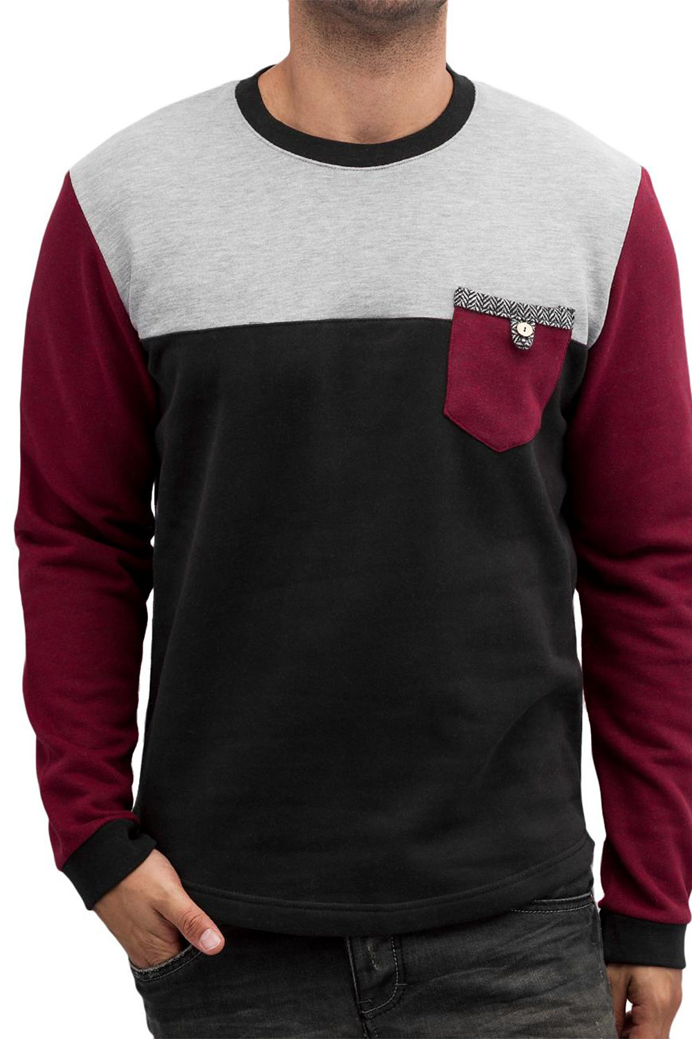 JUST RHYSE Sweatshirt Black/Grey/Wine Red auf oboy.de