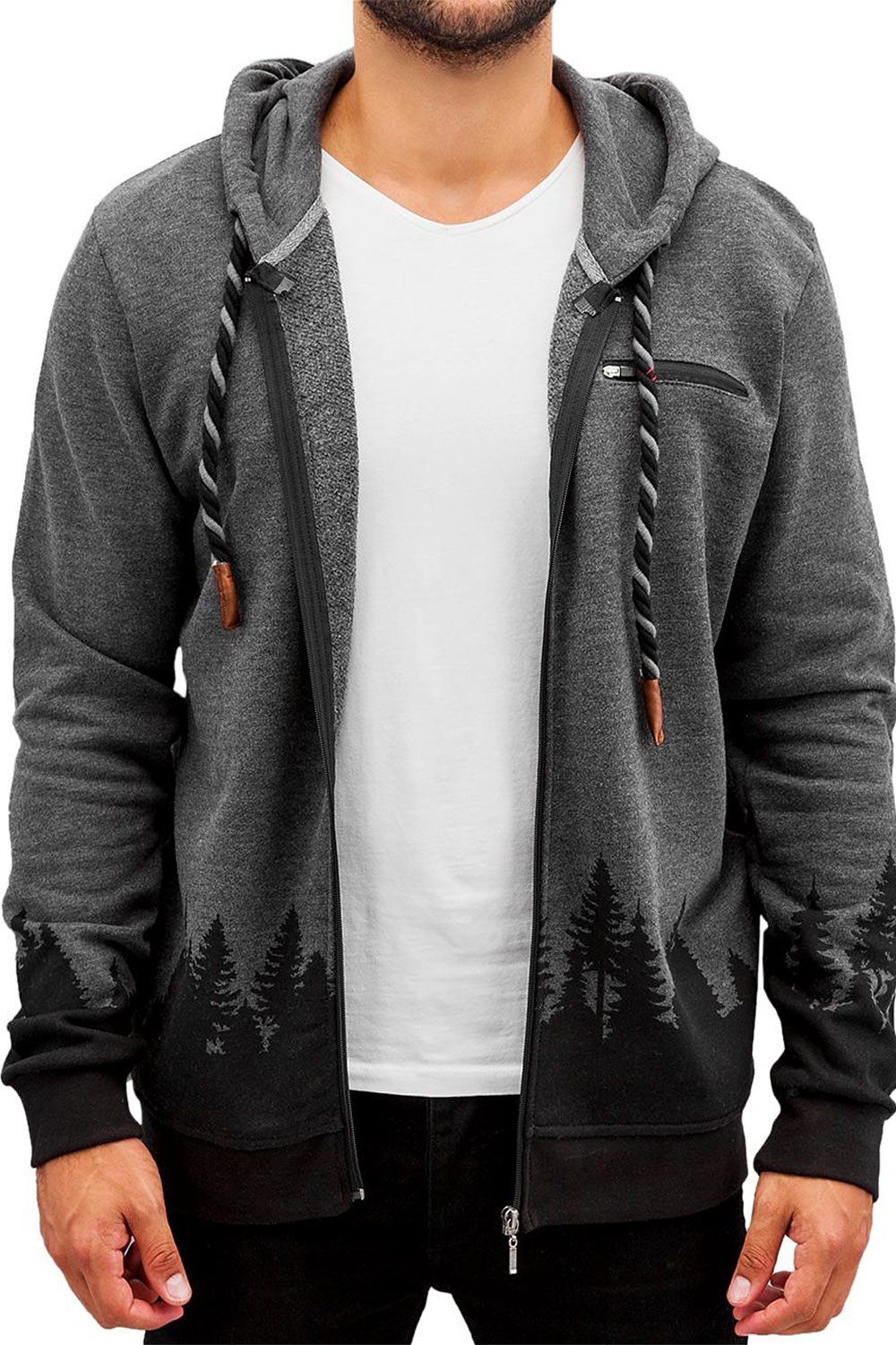 JUST RHYSE Wood Zip Hoody Black auf oboy.de