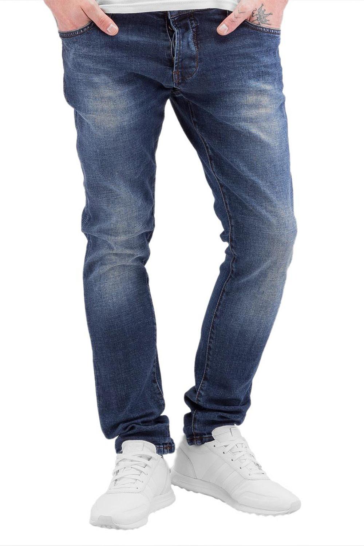 Artikel klicken und genauer betrachten! - blau - verwaschene Straight Fit Jeans - schmal geschnitten - Verschluss: verdeckte Knopfleiste - fünf Hosentaschen - sechs Gürtelschlaufen - seitliche Einschubtaschen - aufgesetzte Gesäßtaschen - Logo-Lederpatch hinten am Bund - Ziernähte an den Gesäßtaschen - Löcher und verwaschene Bereiche bieten ein modernes Design - locker anliegender Beinschnitt Material: 97% Baumwolle, 3% Elasthan 2Y001 | im Online Shop kaufen