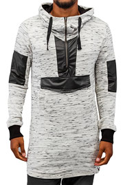 BANGASTIC PU Long Hoody Light Grey/Black auf oboy.de