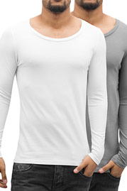 BANGASTIC 2-Pack Long Sleeve White/Grey auf oboy.de