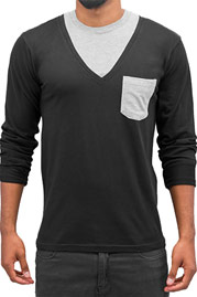 CAZZY CLANG Breast Pocket Longsleeve Black/Grey auf oboy.de