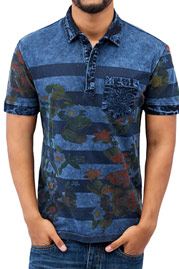 JUST RHYSE Flower Polo Shirt Blue auf oboy.de