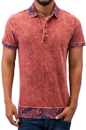 JUST RHYSE Paisley Polo Shirt Red auf oboy.de