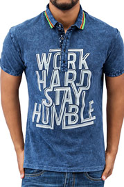 JUST RHYSE Work Hard Polo Shirt Blue auf oboy.de