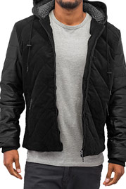 JUST RHYSE Quilted Winter Jacket Black auf oboy.de