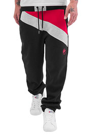 JUST RHYSE Diagonal Sweat Pants Black/Red auf oboy.de