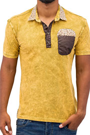 JUST RHYSE Flower Polo Shirt Beige auf oboy.de