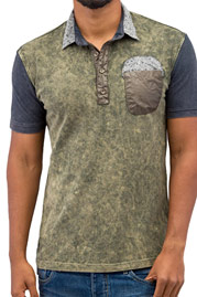 JUST RHYSE Flower Polo Shirt Khaki auf oboy.de