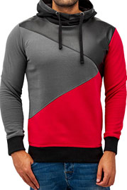 JUST RHYSE Three Tone Hoody Black/Red/Grey auf oboy.de