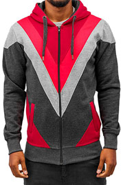 JUST RHYSE Triangle Zip Hoody Grey/Red auf oboy.de