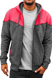 JUST RHYSE Two Tone Zip Hoody Black/Red auf oboy.de
