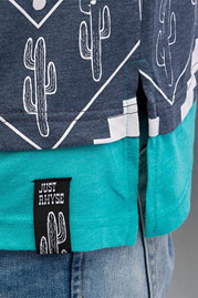 JUST RHYSE Cactus T-Shirt Dark Blue/Grey Melange auf oboy.de