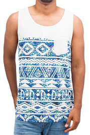 JUST RHYSE Diamond Tank Top White/Blue auf oboy.de
