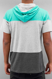 JUST RHYSE Johannes Hooded T-Shirt Grey/Aqua/Anth auf oboy.de