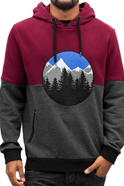 JUST RHYSE Mountain Hoody Wine Red/Grey/Black auf oboy.de