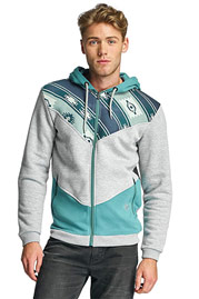 JUST RHYSE Amidou Zip Hoody Light Grey/Green auf oboy.de