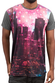 JUST RHYSE Skyline T-Shirt Black/Pink auf oboy.de