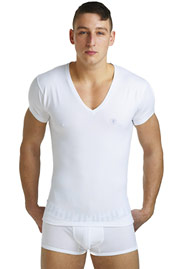 L´HOMME INVISIBLE ORGANIC COTTON T-Shirt V-Ausschnitt slim fit auf oboy.de