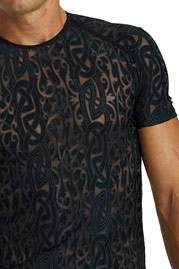 L´HOMME INVISIBLE DEVORE TATTOO T-Shirt Rundhals slim fit auf oboy.de